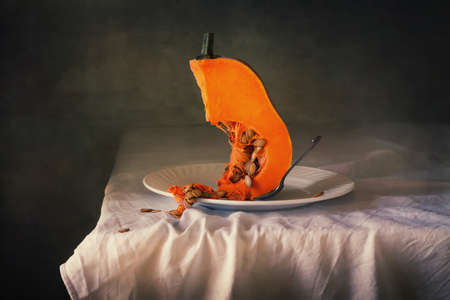 Slice the pumpkin, still life, picture perfect for decorating your home or office