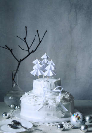 Still life. The picture winter holiday. A cake of whipped egg whites, decorated Christmas trees for Christmas or New year!