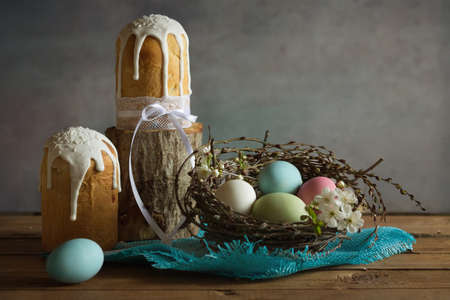 Easter.Cake.Painted eggs.The feast of the Passover, the rebirth of a new spring