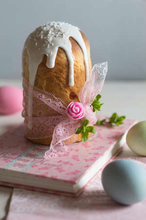 Spring is the beginning of life, books and cake for the spring holiday Easter. Stock Photo