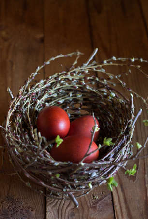 Spring is the beginning of life , the beginning of life of eggs, nest it home and holiday Easter