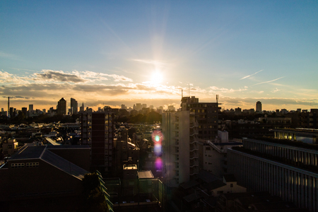 Late afternoon sun over the Tokyo Skyline, as seen from near the Toyo University Hakusan campus. Stok Fotoğraf