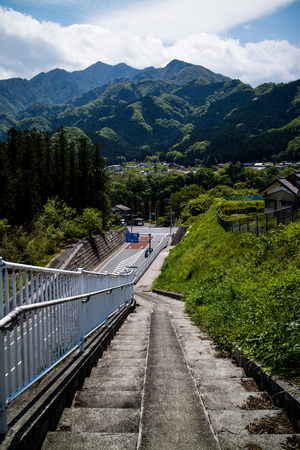 thoroughfare: A path and road in the mountains of Chichibu.