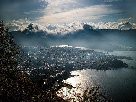 thoroughfare: The sun shing on the clouds above lake Kawaguchi in Yamanashi, Japan.