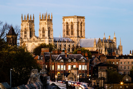 The York Minster in the United Kingdom, taken in the evening from the city wall. Editorial