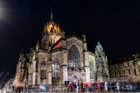 Edinburgh, United Kingdom - 12042017: St. Giles at night with an event on-going