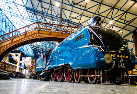 York, United Kingdom - 02/08/2018: A4 Steam Locomotive world record holder Mallard at the National Railway Museum 報道画像
