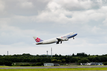 Tokyo, Japan - 08/02/2017: A China Airlines Cargo Boeing 747 taking off from Narita Airport.