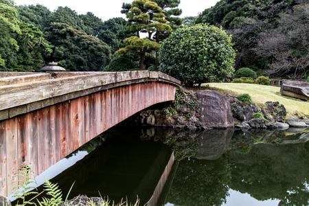 An old wooden bridge crossing a lake in a Japanese zen garden