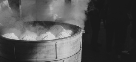 Steaming meat buns ready to eat, taken in Chinatown in Yokohama in black and white Reklamní fotografie