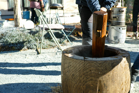 A view of the large pestle while mochi is being made for new  year Reklamní fotografie