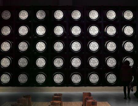 Yamanashi, Japan - 19 2 2019: Whiskey barrels used to age whiskey in the Hakushu distillery Archivio Fotografico - 132422614
