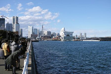 Yokohama Japan 02 1 2019 Minatomirai during the daytime with blue skies Archivio Fotografico - 132422620