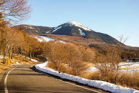A small snow capped mountain in Tateshina, Japan
