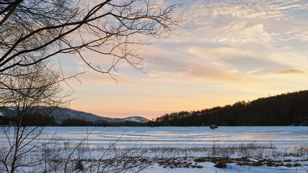 A frozen lake in the Winter, in Tateshina, Japan