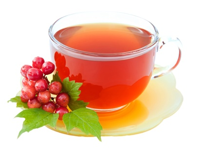 Cup of tea with viburnum isolated on white  background photo