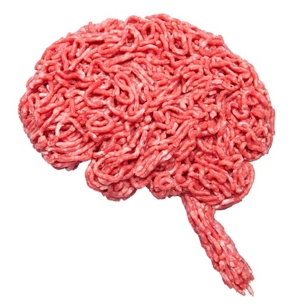 Shape of a brain made out of minced meat isolated on white photo