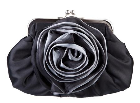 Black womans handbag isolated on white