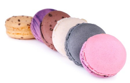 Colorful fresh delicious macaroons on white Stock Photo - 12744044