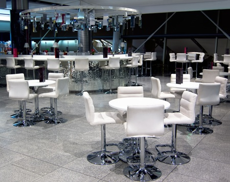 Interior of modern white coffee house