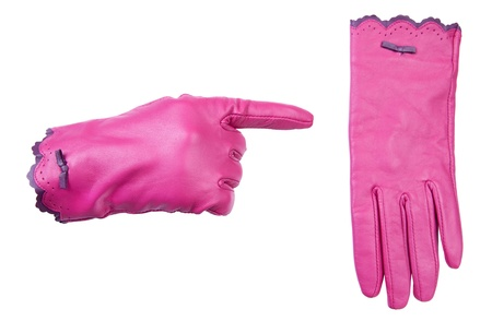 without clothes: One pink glove pointing at other pink glove, isolated on white