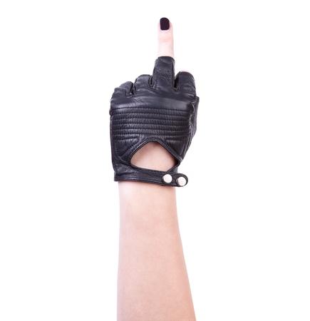 mittelfinger: Obsz�ne Geste mit der Hand, indem Mittelfinger in Leder schwarz Handschuh, isoliert auf wei� Lizenzfreie Bilder
