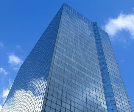 A clouds reflection in glass business building