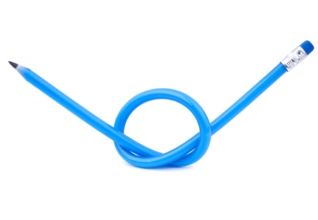 A blue flexible pencil tied in a knot over white background Stock Photo