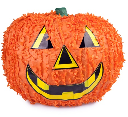 pinata: Halloween pumpkin made from paper mache