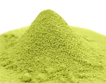 Japanischer grüner Matcha Tee isoliert auf weiß. Standard-Bild