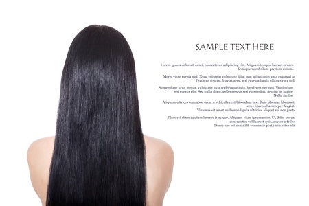 back straight: Woman with  long  healthy straight brown hair isolated on white Stock Photo