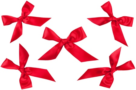 Set of five red ribbon bows in different position isolated on white Stock Photo - 16694078