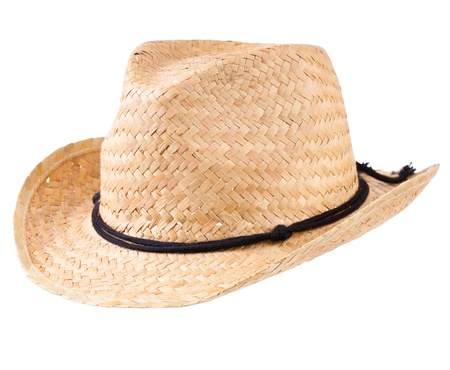 Yellow straw hat isolated on white photo