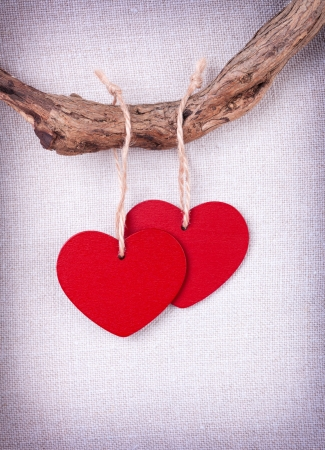 Two  wooden red  hearts hanging on a tree branch on vintage background Stock Photo - 17194560