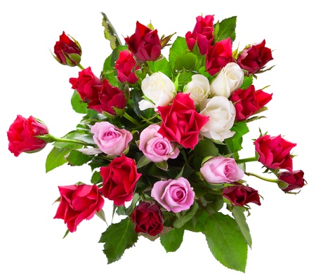 Top view of colorful roses  bouquet isolated on white background  photo