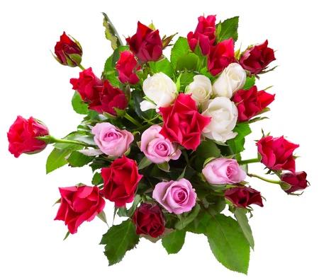 ramos de flores: Vista superior del ramo de rosas de colores aislados sobre fondo blanco