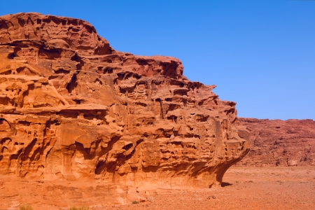An unusual  rock formations  in Wadi Rum desert photo