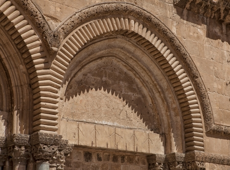Architectural details of  the Church of the Holy Sepulchre in old city of Jerusalem Stock Photo - 19612678