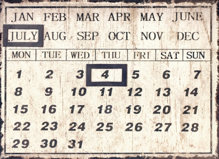 A vintage style universal calendar with date set to July 4th, Independence day in America photo