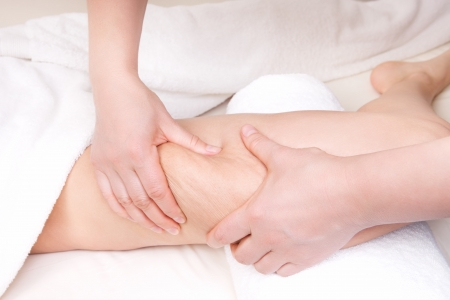 cellulite: Therapist doing  anti cellulite massage to improve skin condition