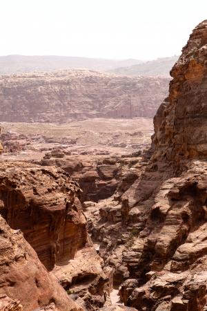 rugged terrain: Stony gorge in Petra, Jordan