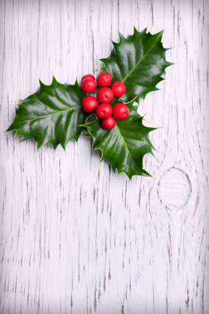 christmas holly: Sprig of christmas holly with red berries on vintage wooden background