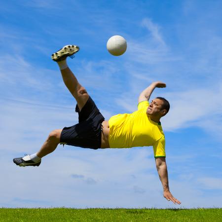 Brazilian soccer football player doing a bicycle kick