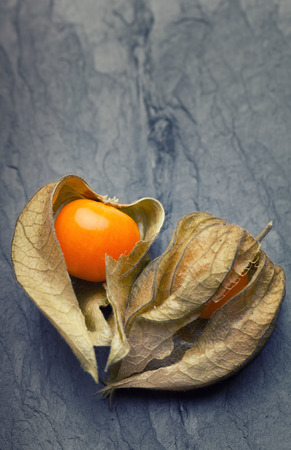 calyx: An open calyx, exposing the ripe fruit of physalis peruviana on a vintage tile plate
