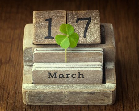 17 year old: Old vintage calender showing the date 17th of march which is St.Patricks day with a green shamrock