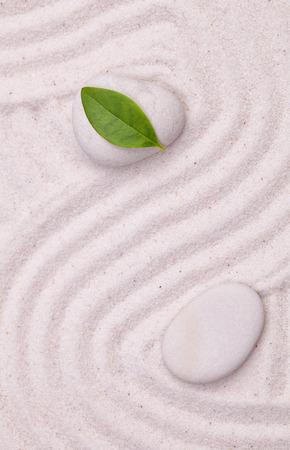arena blanca: Jard�n zen con l�neas de onda en la arena blanca con una hoja verde