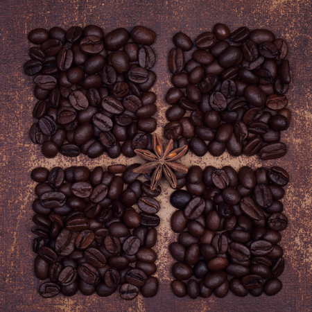 faux: Star anise spice on dark roasted coffee beans divided into quarters with a faux leather material background