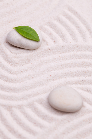 white sand: Zen garden with a wave lines in the white sand with relaxing  stones and green  leaf