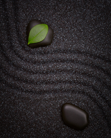 zen: Zen garden with a wave lines in the black sand with relaxing  stones and green  leaf Stock Photo
