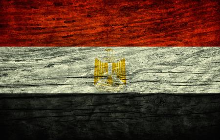 egypt revolution: National vintage flag of Egypt on wooden surface Stock Photo